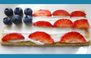 Grab some graham crackers, spread some cream cheese then decorate with fruit.