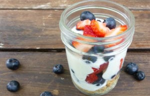 Granola on the bottom, then plain Greek yogurt with a tsp of honey then mix in some fresh fruit