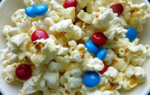 Popcorn + blue and red M & M tossed into a delicious treat