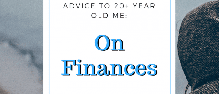 White background rectangle with thin blue border with text - Advice to 20+ year old me on finances, background photo of person wearing a hood walking on the beach