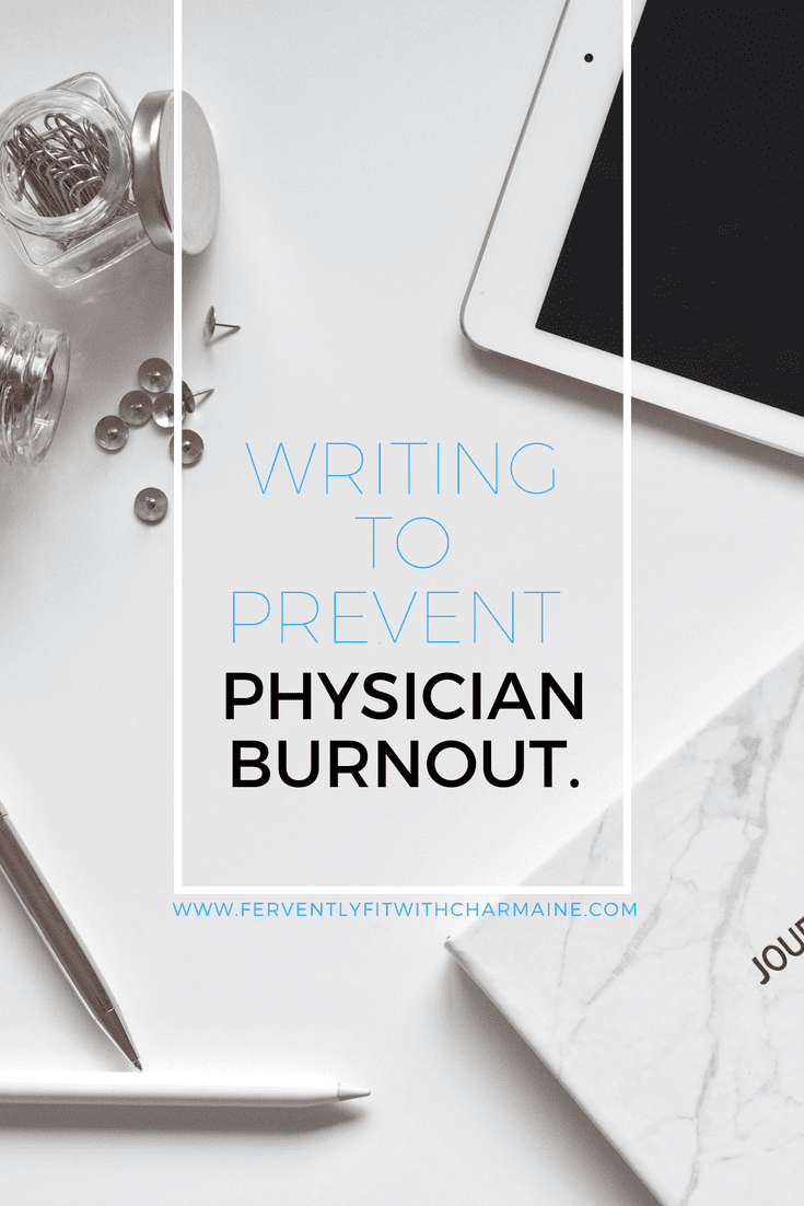 background of white tabletop, ipad, journal, pen, and glass jars with copper paperclips and thumb tacks in each corner; white rectangular frame with thin blue text - writing to prevent Black text- physician burnout