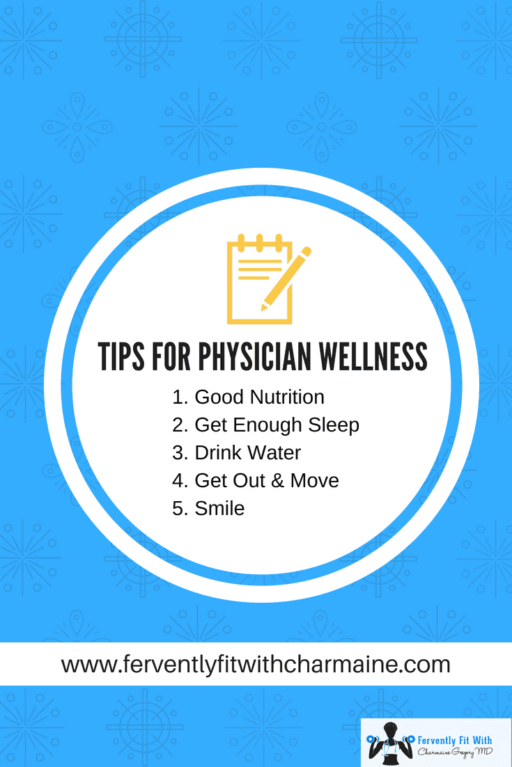Blue background, White circle with a yellow notebook, black text - Physician Wellness and 5 tips below